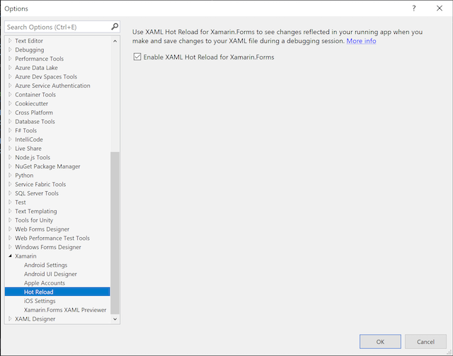 The Options dialog in Visual Studio 2019 for Windows, showing the Hot Reload page