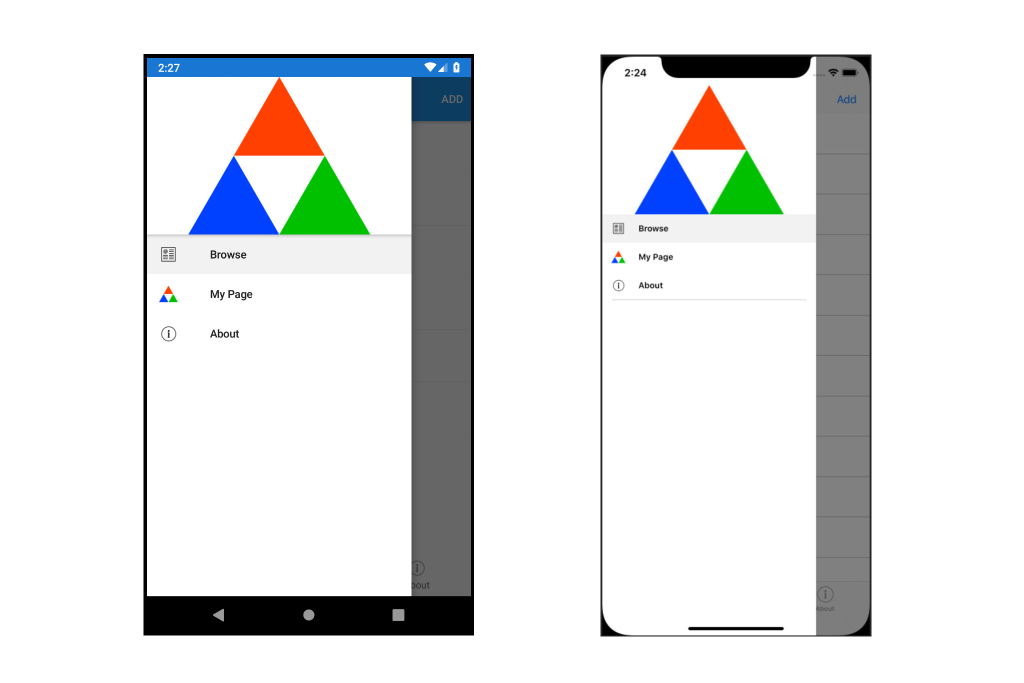 An image of an Android and iOS app, built using Xamarin.Forms Shell