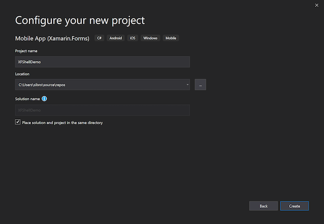 An image showing the Configure New Project dialog in Visual Studio 2019