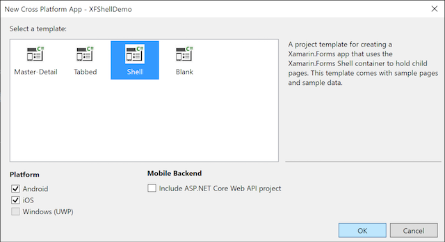 An image showing the Select a Template dialog in Visual Studio 2019, with Shell selected