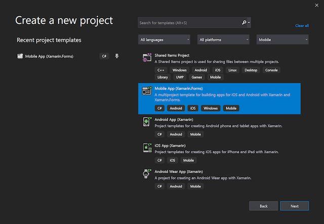 An image showing the Create New Project dialog in Visual Studio 2019, with Mobile App (Xamarin.Forms) selected
