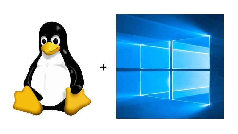 The Linux penguin next to the Windows 10 logo